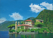 Villa Paintings - Alpine Lakeside Villa by Robert Montano