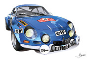 Alpine Digital Art Framed Prints - Alpine-renault A110 Framed Print by Alain Jamar