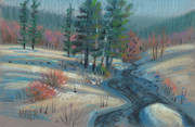 Mountains Pastels Prints - Alpine Stream Print by Donald Maier