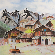 Village Pastels Prints - Alpine Village Print by Paul Cubeta