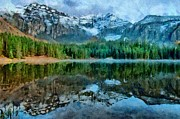 Snowy Trees Digital Art - Alta Lakes Reflection by Jeff Kolker