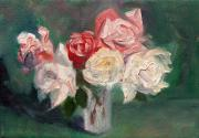Floral Still Life Painting Prints - Altadena Roses Print by Athena  Mantle