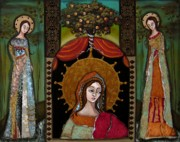 Religious Mosaic Mixed Media Prints - Altar Screen Print by LoriAnn Altered-posh