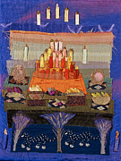 Fabric Art Tapestries - Textiles Posters - Altar with Trees Poster by Roberta Baker