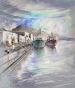 Costa Drawings Posters - Altea Harbour on The Costa Blanca 01 Poster by Miki De Goodaboom