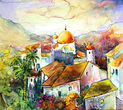 Aquarelle Framed Prints - Altea La Vieja in Spain 02 Framed Print by Miki De Goodaboom
