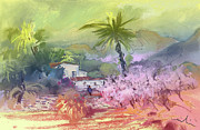 Costa Drawings Posters - Altea La Vieja in Spain 09 Poster by Miki De Goodaboom