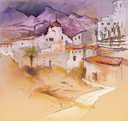 Costa Drawings Posters - Altea La Vieja in Spain 11 Poster by Miki De Goodaboom