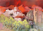 Costa Drawings Posters - Altea La Vieja in Spain 12 Poster by Miki De Goodaboom