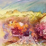 Costa Drawings Posters - Altea La Vieja in Spain 15 Poster by Miki De Goodaboom