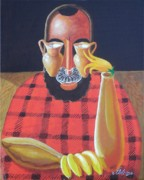Pun Paintings - Alternative Reality in a Still life Le Penseur by David G Wilson