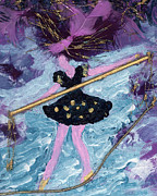 Greeting Cards Ovarian Cancer Painting Prints - Althea Balances her Life After Chemo Print by Annette McElhiney