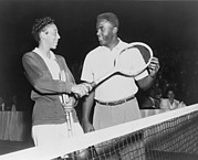 Jackie Robinson Photos - Althea Gibson 1927-2003 And Jackie by Everett