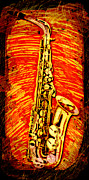 Alto Saxophone Posters - Alto Sax Abstract Poster by David G Paul
