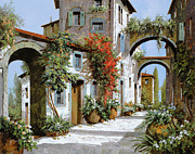 Street Scene Paintings - Altri Archi by Guido Borelli