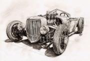 Lakes Drawings - Alviso Roadsters Modified by Ruben Duran