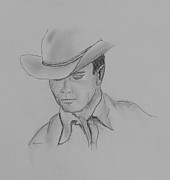 Cowboy Pencil Drawing Posters - Always Cowboy Poster by Kume Bryant