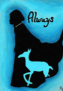 Bright Colors Drawings Metal Prints - Always Doe in Snape Metal Print by Jera Sky