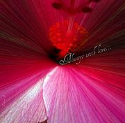 Pink Flower Prints Mixed Media Posters - Always With Love Poster by Fania Simon