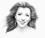 Cinema Drawings Prints - Alyson Hannigan Portrait Print by Wu Wei