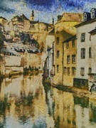 France Paintings - Alzette River by Aaron Stokes