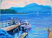 Ship Pastels Prints - am Chiemsee Print by Johannes Baul