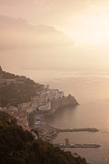 Rocky Cliff Posters - Amalfi at Sunrise Poster by Chris Hill