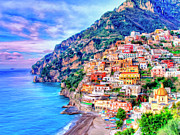 Amalfi Paintings - Amalfi Coast at Positano by Dominic Piperata