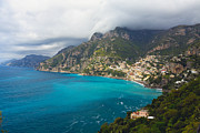 Amalfi Coast Scenic Vista At Positano Print by George Oze