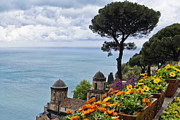 Potted Flowers Prints - Amalfi Coast Spring Vista Print by George Oze