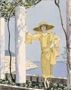 Woman In A Dress Metal Prints - Amalfi Metal Print by Georges Barbier