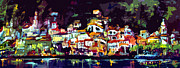Panoramic Mixed Media Framed Prints - Amalfi Italy at Night Panoramic Framed Print by Ginette Callaway