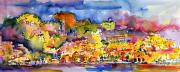 Panoramic Painting Framed Prints - Amalfi Italy Coastline Travel Framed Print by Ginette Fine Art LLC Ginette Callaway