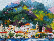 Amalfi Paintings - Amalfi Italy Oil Painting by Ginette Fine Art LLC Ginette Callaway