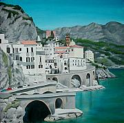 Buildings Painting Posters - Amalfi Poster by Maria Arango