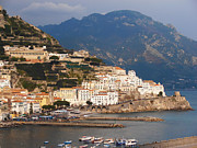Villa By The Sea Digital Art Posters - Amalfi Poster by Pat Cannon