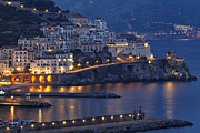 Bay Bridge Photos - Amalfi Town Night Scenic by George Oze