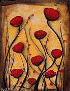 Abstract Heart Paintings - Amapolas Rojas by  Abril Andrade Griffith