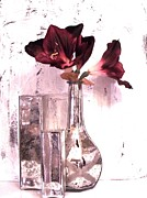 Floral Still Life Prints - Amaryllis and Mercury Glass Vases Print by Marsha Heiken