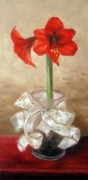 Red And Gold Prints - Amaryllis Print by Karin  Leonard