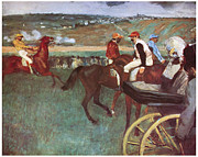 Horserace Paintings - Amateur Jockeys on the Course by Edgar Degas