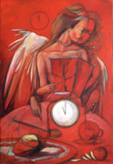 Clock Paintings - Amateur Tasseographer by Jacque Hudson-Roate