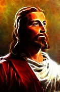 Bible Digital Art Prints - Amazing Jesus Portrait Print by Pamela Johnson