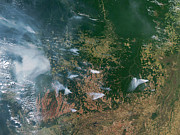 Polluted Prints - Amazon Basin Forest Fires, Satellite Print by NASA / Science Source