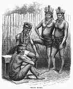 Amazonian Rainforest Prints - Amazon Indians, 1875 Print by Granger