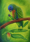 Ross Daniel Paintings - Amazona Versicolor and mango by Ross Daniel