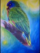 Amazon Parrot Paintings - Amazona Versicolor-St.Lucia parrot by Ross Daniel