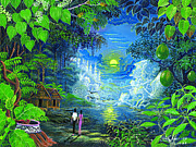 Rainforest Paintings - Amazonica Romantica by Pablo Amaringo