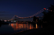 Ambassador Prints - Ambassador Bridge at night Print by Wade Clark