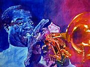 Jazz Posters Posters - Ambassador Of Jazz - Louis Armstrong Poster by David Lloyd Glover